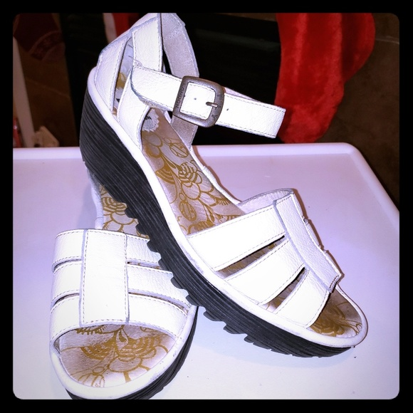 c17b0a57 Fly London Shoes - FLY LONDON RESEFLY OFF WHITE BUCKLE WEDGE SANDALS